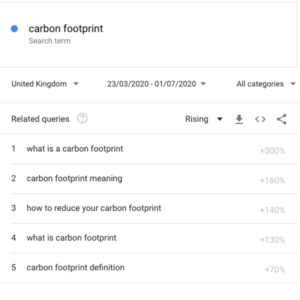 Carbon Footprint Google Searches